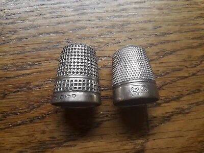 2 Vintage Charles Horner Silver thimbles Hallmarked Size 5 and Dorcas size 5