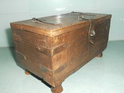 Small Old Wooden Hand Made Chest / Box