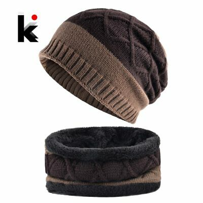 Thick Hat Scarf Set 2018 Winter Men's Knitted Striped Beanies Cap Men Double