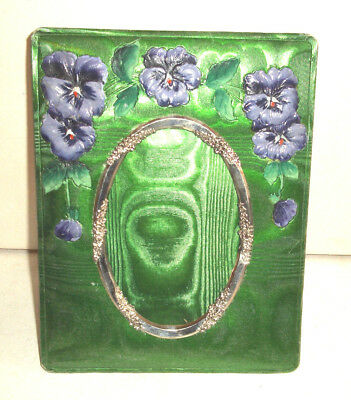 Beautiful Antique Green & purple Pansy Design Photo Frame  c1920s / 30s