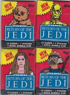 1983 Topps STAR WARS Return of the Jedi Series 2 Unopened Wax Pack X 4