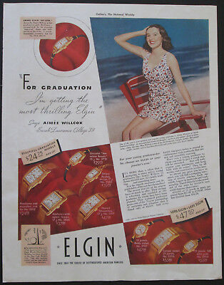 1939 Elgin Watches For Graduation Vintage Print Ad