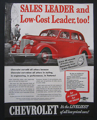 1939 Chevrolet Low Price Leader Vintage Print Ad