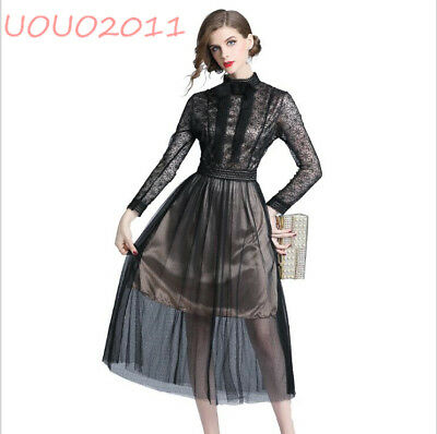2019 Women's Long Sleeve Tunic Lace Chic Hollow Out Flower Bowknot Fashion Dress