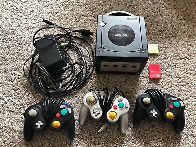 Nintendo GameCube Black Console w/ 3x Controllers, 2x Memory Cards, Power, Bideo