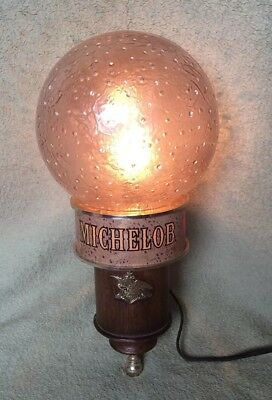 Vintage Michelob Globe Lighted Wall Sconce.