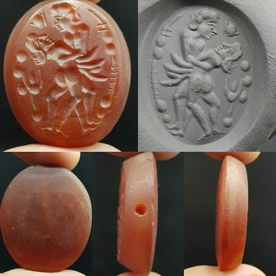 Old Rare Unique King & queen Seal intaglio Agate stone Lovely Bead  # 8N