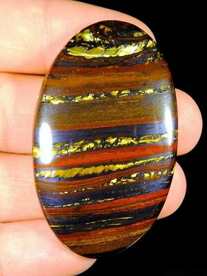 107Ct Top Quality  Natural Gold  Fire Red Iron Tiger Oval Cabochon  Gemstone F86