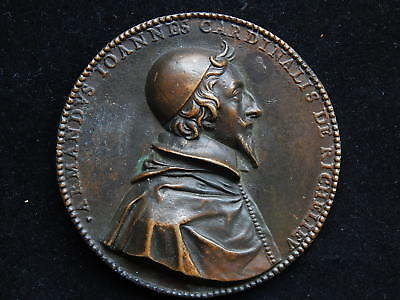 17th Century Louis XIII~Cardinal Richelieu Large French Bronze Table Medal~73mm