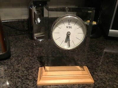 Mantel clock , mantle , glass , wooden stand