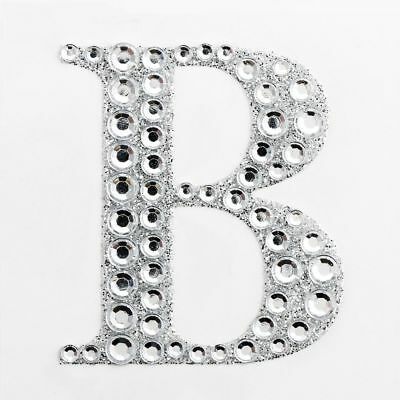 "2"" 5cm Large Craft Diamante & Silver Glitter Stick On Self Adhesive - LETTER B"
