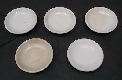5 Vintage Butter Pats White Ironstone - ESTATE FIND