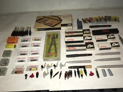 Vintage Rotring Architect/draftsman Pens And Accessories Job Lot