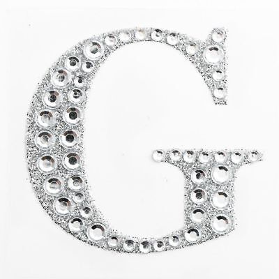 "2"" 5cm Large Craft Diamante & Silver Glitter Stick On Self Adhesive - LETTER G"