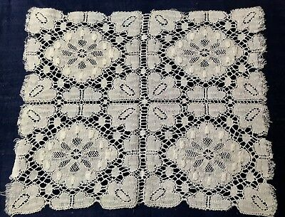 "Early Vintage Gorgeous White Cluny Lace  Doily10"" x 8 1/4"" Table Decor"
