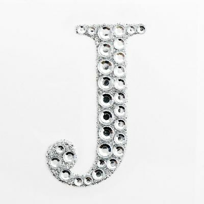 "2"" 5cm Large Craft Diamante & Silver Glitter Stick On Self Adhesive - LETTER J"