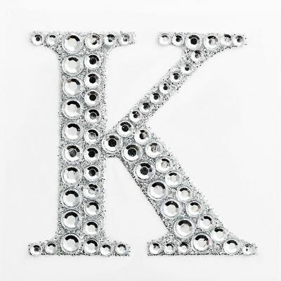 "2"" 5cm Large Craft Diamante & Silver Glitter Stick On Self Adhesive - LETTER K"
