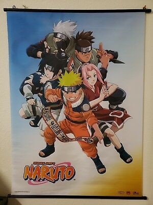 """[USED] 2002 SHONEN JUMP'S NARUTO TEAM 7 WALL SCROLL BANNER POSTER 31""""x43"""""""