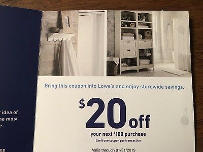 Lowes $20 OFF $100 Coupon - Lowe's In store/online Exp 1/31/2019