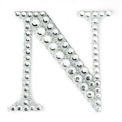 "2"" 5cm Large Craft Diamante & Silver Glitter Stick On Self Adhesive - LETTER N"