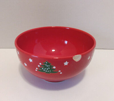 """Waechtersbach Germany Christmas Tree Cereal Soup Bowl Red Holiday 6"""" Dia."""
