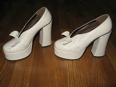 Vintage White Leather Platform Pumps Shoes 1970's Retro  7 1/2  Spain
