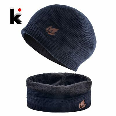 2018 Men Winter Hat Scarf Sets Fashion Maple Leaf Knitted Skullies Beanies Man