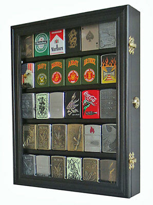 Sport Zippo Cigarette Lighter Display Case Wall Cabinet, Lockable, LC30-BLA