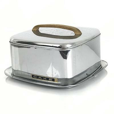 Vintage Mid Century Lincoln Beauty Ware Chrome Cake Carrier with Teak Handle NR