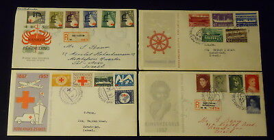 Netherlands 1955-61  8 sets on cachet first day covers sent to Israel