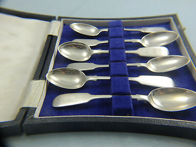 6 solid silver spoons in box, London 1861, excellent