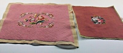 Two Pieces Of Vintage Needlepoint With Pink Background One Dark And One Light