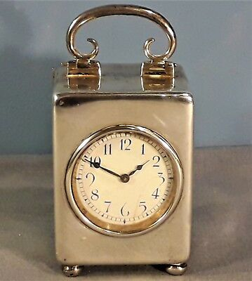 Antique Miniature Solid Silver Carriage Clock by William Comyns, London 1909