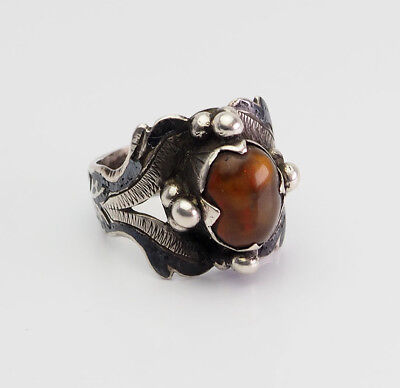 Antique handmade rare sterling silver and amber 19th century ring size 10