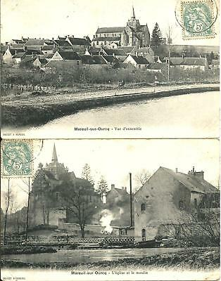 cpa :  Mareuil sur Ourq ( lot 2 cpa 1906 )