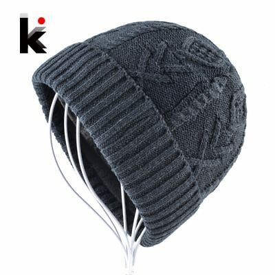 Men's Beanies Hats Winter Knitted Wool Hat Double layer Add Velvet knitting