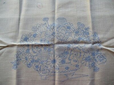Paragon Needlecraft 18x22 Blue Stamped Floral Embroidery 100% cotton