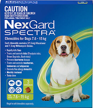 Nexgard Spectra Chewables GREEN for Dogs 7.6-15 kg 3 Pack