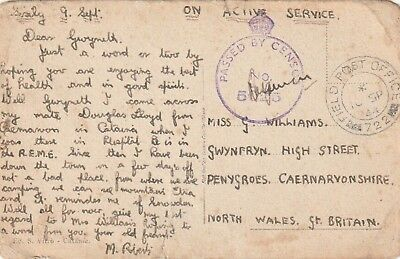 Card From Injured Soldier In Sicily Home To Penygroes, North Wales. Censor Mark.