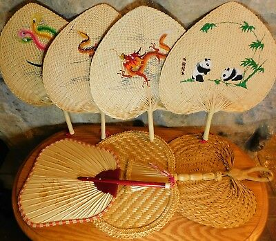 7 Woven Chinese Paddle Hand Fans 2 Designs of Dragons,1 Panda, 1 Asian Bird