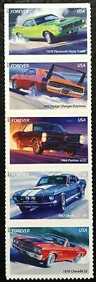 2013  #4743-4747 - Forever - MUSCLE CARS - Strip of 5 - Mint NH