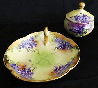 """2 - Brauer Pieces- Nappy Dish and Lidded Dish-Pickard Contemp Signed """"M.Brauer"""""""
