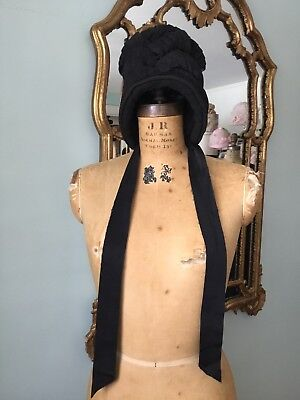 RARE Edwardian Period  Vintage Antique Black Percher Bonnet Hat Museum Costume