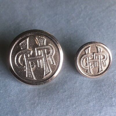 Pristine Set Of Two Vintage Hawaii Consolidated Railway Coat Buttons Railroad