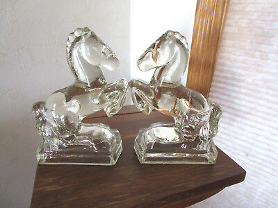 "Vintage L.E. Smith And Fostoria ""Rearing Horses"" Pair of Solid Glass Bookends"
