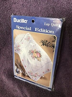 NIP Bucilla Special Stamped Lap Quilt Wall Hanging Rose Embroidery Fabric 63346