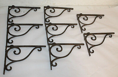8 Cast Iron Antique Style Brackets Garden Brace Shelf Bracket RUSTIC FARM Scroll