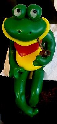 NORTHERN LIGHTS CANDLE Sculpture Handmade Retro  Frog with Pipe Shelf-Sitter