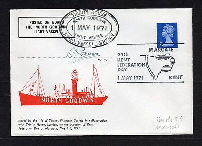 1971 North Goodwin Lightship Souvenir Cover Posted On Board & Signed By Master