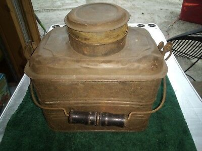 Vtg Old Antique Metal Lunch Box Tin Coal Miners Railroad Dinner Pail Wood Handle